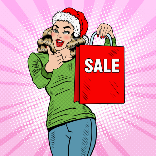 Buy gifts pop art illustration vector