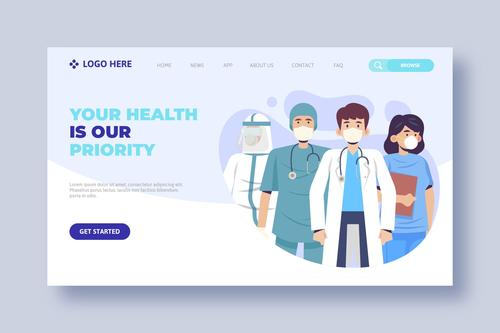 COVID 19 prevention medical website login page vector