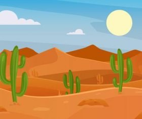 Cactus vector dotted desert