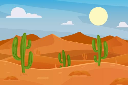 Cactus vector dotted desert