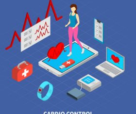 Cardio control isometric vector illustration