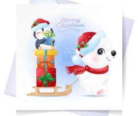 Cartoon christmas gift vector