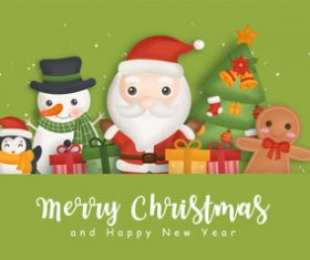 Cartoon illustration merry christmas vector