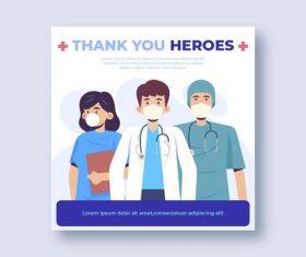 Cartoon thank you heroes vector