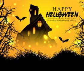 Castle and bat halloween background vector
