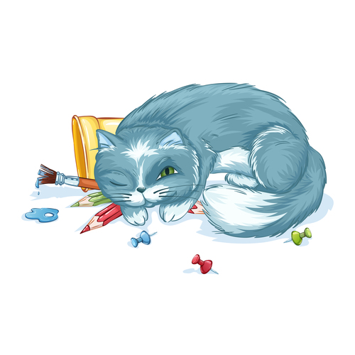Cat watercolor painting vector