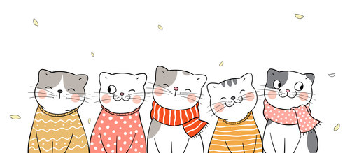 Cats with different expressions illustrations vector