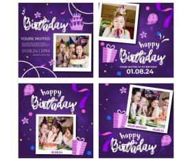 Children's birthday banner and instagram posts vector