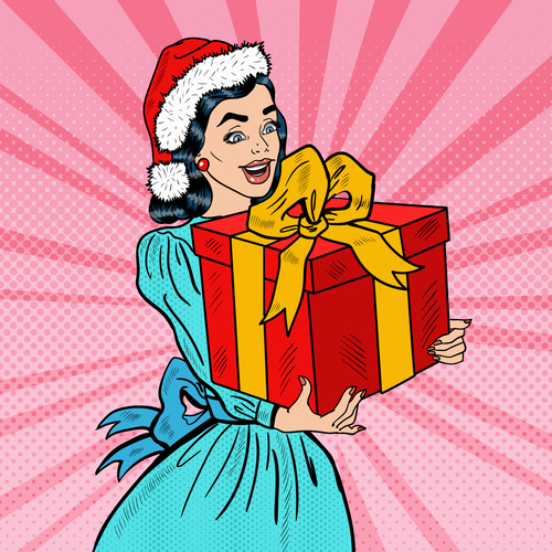 Christmas gift pop art illustration vector