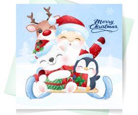 Christmas watercolor illustration vector