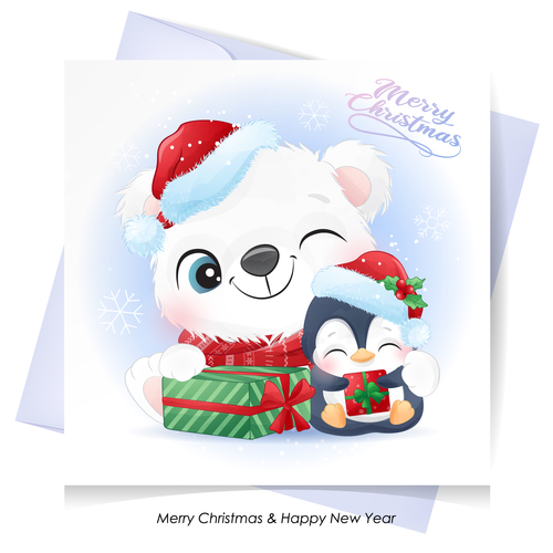 Christmas with watercolor card vector