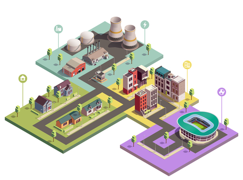 City buildings isometric illustration vector