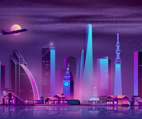 City neon lights background vector