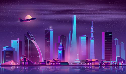 City neon lights background vector