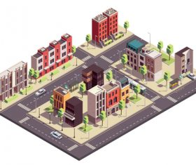 City townhouse building illustration vector