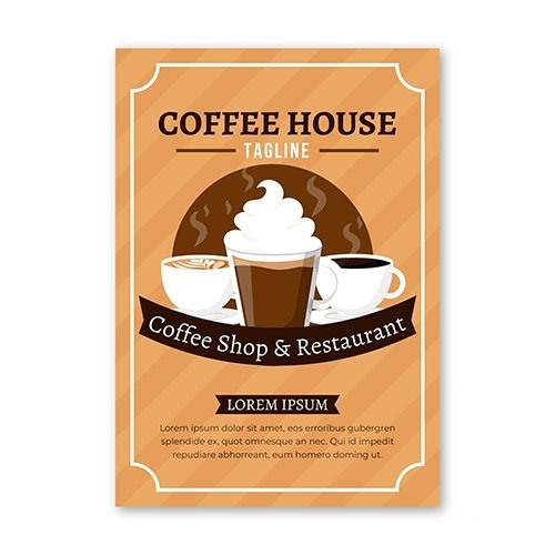Coffee house flyer template vector