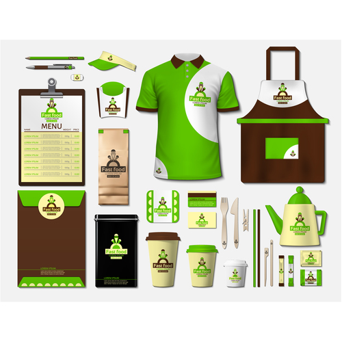 Coffee shop green and white identity design vector