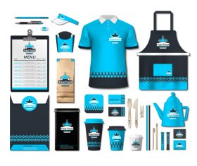 Coffee shop light blue and black identity design vector