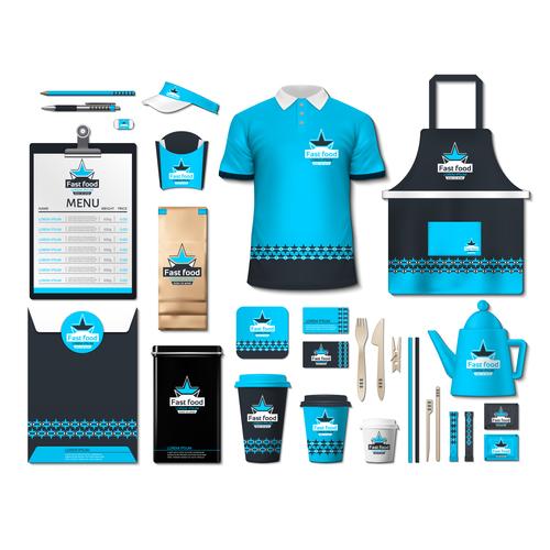Coffee shop light blue and black identity design vector