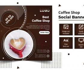 Coffee shop social banner vector
