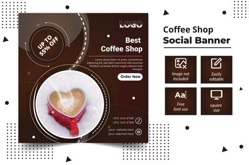 Coffee shop social banner vector