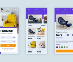 Color furniture shopping app pack vector