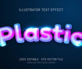 Color plastic editable font effect text vector