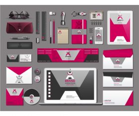 Color stationery set vector