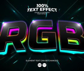Color stroke highlight editable font effect text vector