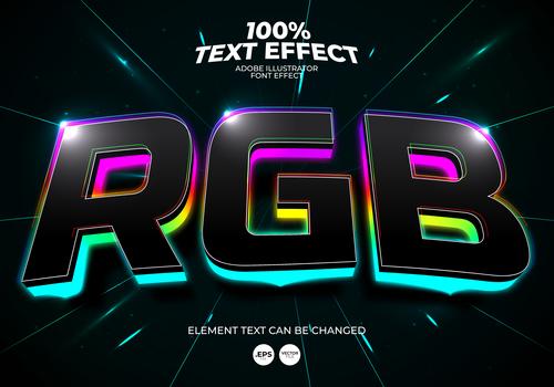 Color stroke highlight editable font effect text vector