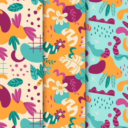 Colored leaves abstract seamless pattern vector