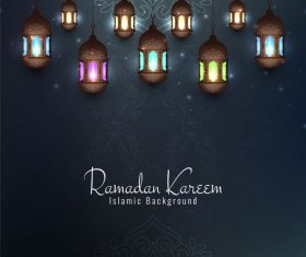 Colored lights background ramadan festival card vector