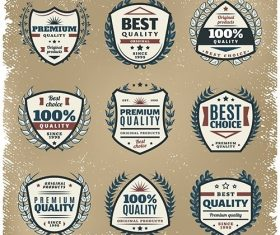 Colored premium quality emblems set vector