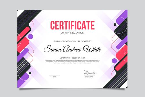 Colorful background certificate template vector