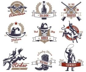 Colorful rodeo labels and logos