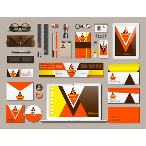 Colorful stationery set vector