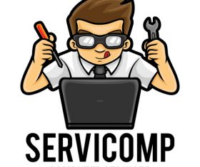 Computer services icon vector