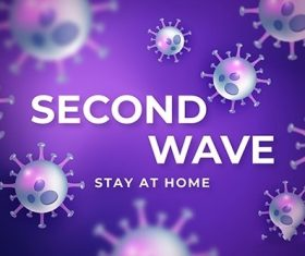 Coronavirus second wave background vector