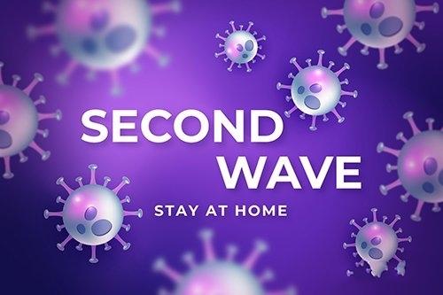 Coronavirus second wave background vector