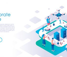 Corporate leisure isometric template vector