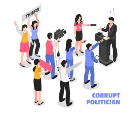 Corrupt politician abstract concept vector