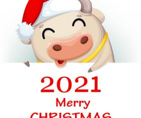 Cow and new years card 2021 comic vector