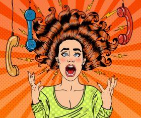 Crazy woman pop art illustration vector