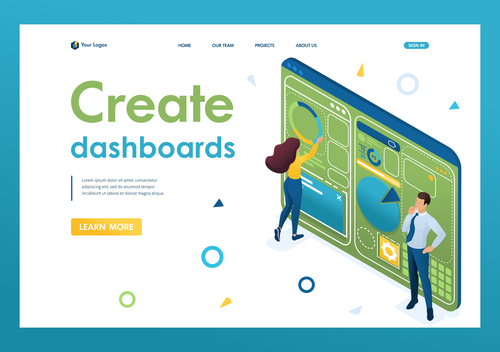Create dashboards vector 3D concept map