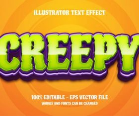 Creepy editable font effect text vector