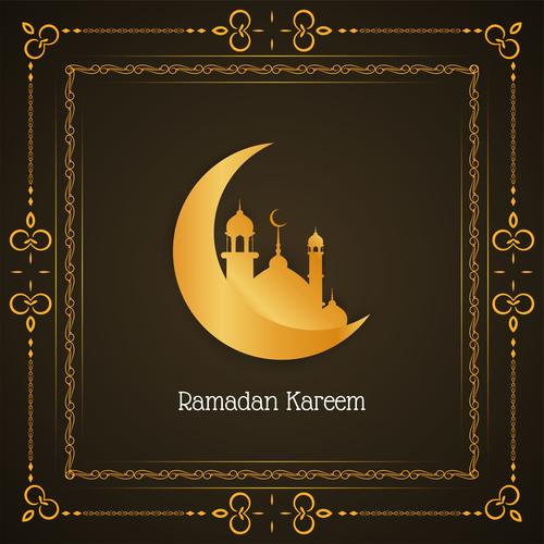 Crescent moon mosque background ramadan festival card vector