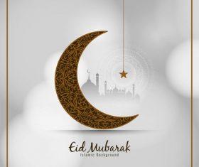 Crescent pattern ramadan festival card vector