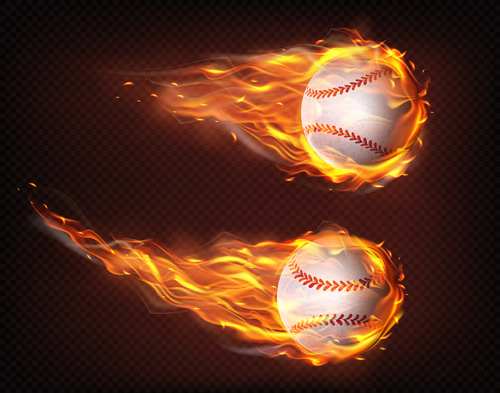 Cricket flying in fire realistic vector
