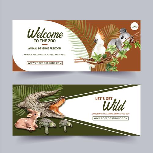Crocodile bird zoo poster banner vector