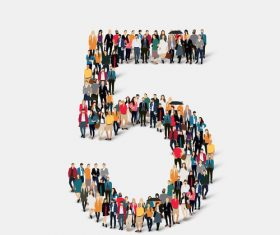 Crowd of people combined into number 5 vector